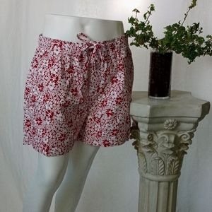 Faded Glory red floral beach shorts size large